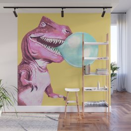 Bubble Gum Pink T-rex in Yellow Wall Mural