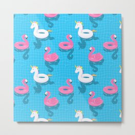 Pool Party flamingo, unicorn Metal Print