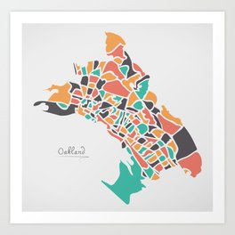 Oakland California Map with neighborhoods and modern round shapes Art Print