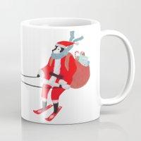 husky Mugs featuring Santa Husky by miba