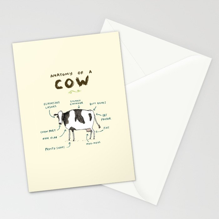 Anatomy of a Cow Stationery Cards by sophiecorrigan | Society6