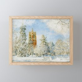 Beaumont Tower in Winter at Michigan State University Framed Mini Art Print