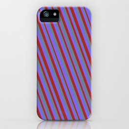 Medium Slate Blue, Brown, and Slate Gray Colored Lined Pattern iPhone Case