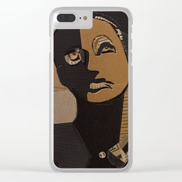 male portrait in cardboard collage Clear iPhone Case