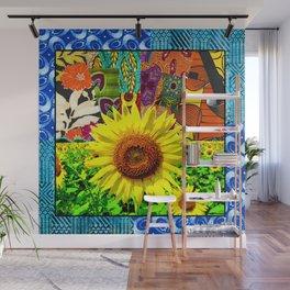 Sunflower Blue Wall Mural