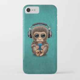 Cute Baby Monkey With Cell Phone Wearing Headphones Blue iPhone Case