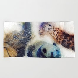 Animals Painting Beach Towel