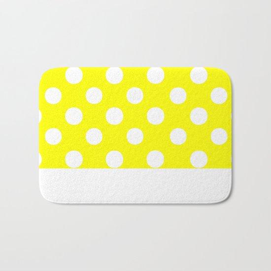 Polka Dots (White/Yellow) Bath Mat