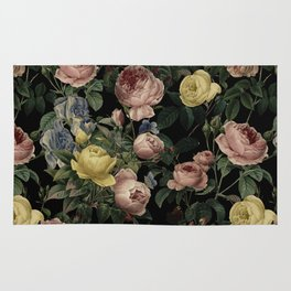 Vintage Roses and Iris Pattern - Dark Dreams Rug
