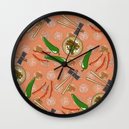 peppers and chicken feet- dim sum Wall Clock