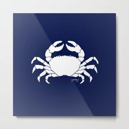 Crab Navy Background Metal Print
