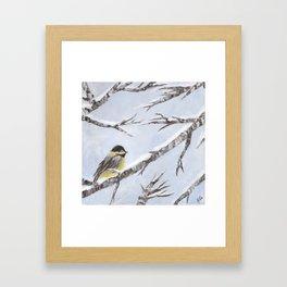 Bird in Snow Framed Art Print