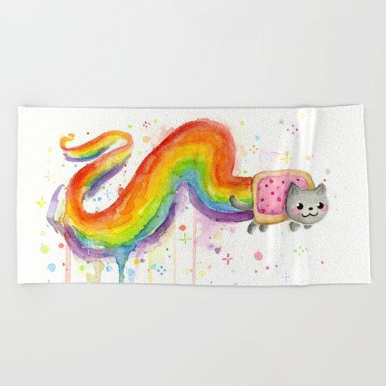 Rainbow Cat Meme Geek Whimsical Animal Painting Beach Towel