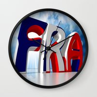 france Wall Clocks featuring France by Carlo Toffolo