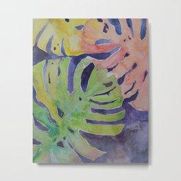 Miami Palms Watercolor Art by Julesofthesea Metal Print