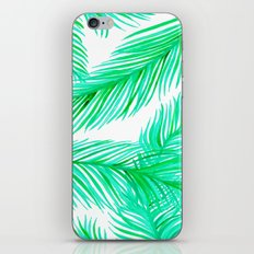 Green and White Tropical Palms Pattern iPhone Skin