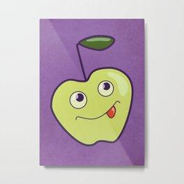 Purple Green Cartoon Apple Metal Print