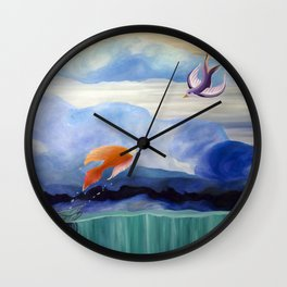a fish may love a bird but where would they live..... Wall Clock