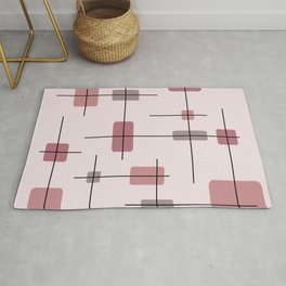 Rounded Rectangles And Squares Blush Pink Brick Red Rug