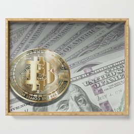 Bitcoin with dollar bills, cryptocurrency concept Serving Tray