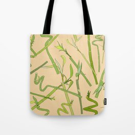 Scattered Bamboos on Beige Tote Bag