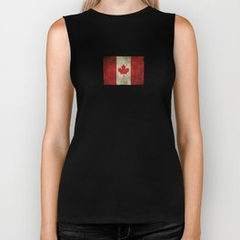 Old and Worn Distressed Vintage Flag of Canada Biker Tank