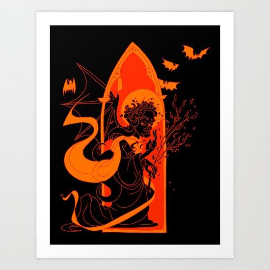 Beati Vespertilionem: Orange Art Print