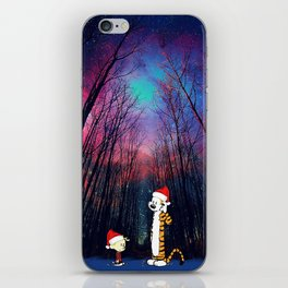 calvin and hobbes nebula night Christmas iPhone Skin