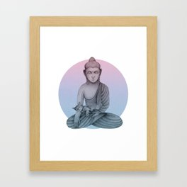 Buddha with cat1 Framed Art Print