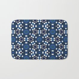 Blue Doodle White Stars Mandala Pattern Bath Mat