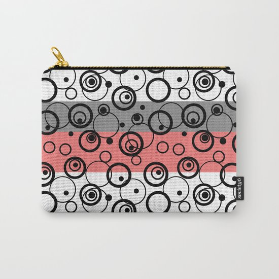 Circles and rings on striped background . Salmon , black , white , grey Carry-All Pouch