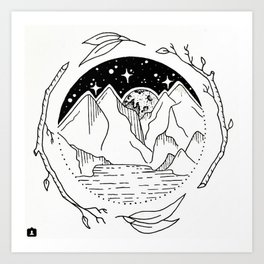 Moon Over Mountain Range Circular Botanical Illustration Art Print