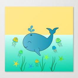 Happy baby whale Canvas Print