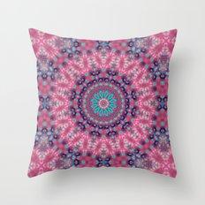 Mandala . Pink blue . Throw Pillow