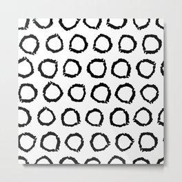 Classic vintage pattern with polka dot circles, texture grunge crayons ink Metal Print