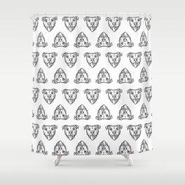 Pitbull Dog Print - black and white halftone Shower Curtain