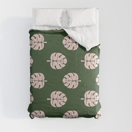 Tropical leaves Monstera deliciosa emerald and pink #monstera #tropical #leaves #floral #homedecor Comforters