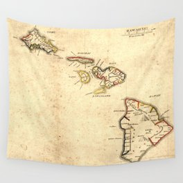 Vintage Map of Hawaii (1837) Wall Tapestry