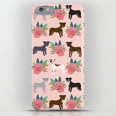 Pitbull Terrier flowers cute dog art pet portraits custom dog breed must have pitbull owner gifts iPhone 6s Plus Slim Case