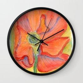 Red Poppy-3 (Papaver rhoeas) Wall Clock