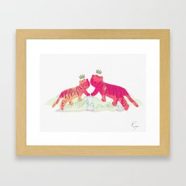 Lucky Pinkie Tigers Framed Art Print