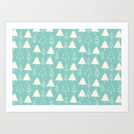 Christmas Tree Blue Art Print