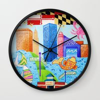 maryland Wall Clocks featuring Baltimore, Maryland by Karen Riddle