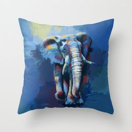 Elephant Dream - Colorful wild animal digital painting Throw Pillow