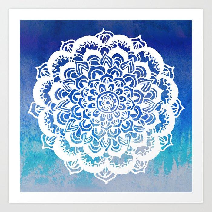 White Floral Medallion on Indigo & Turquoise Watercolor Art Print