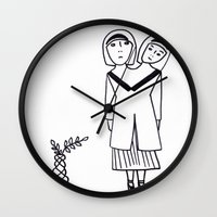 preppy Wall Clocks featuring preppy by Coco Huang