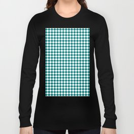 White and Teal Green Diamonds Long Sleeve T-shirt