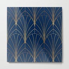 Art Deco Waterfalls // Navy Blue Metal Print