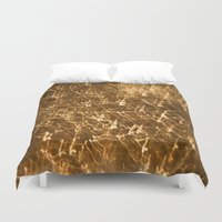 gold glitter Duvet Covers featuring Gold Glitter 2484 by Cecilie Karoline