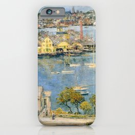 Classical Masterpiece 'Gloucester Harbor Landscape' by Frederick Childe Hassam iPhone Case